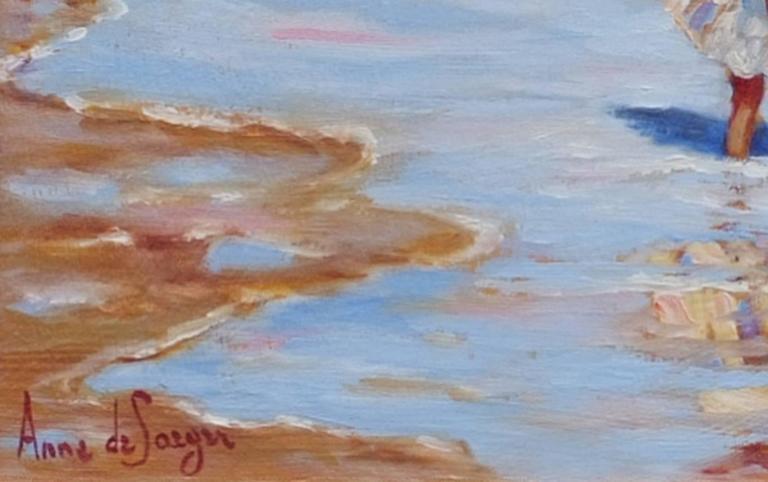 Anne de SAEGER (1947) Children's Play Oil on wood panel signed low left and reverse Entitled : Jeux d'enfants  Golden frame with fabric mount Dim panel : 24 X 34 cm Dim frame : 39 X 49 cm Certificate of authenticity   Anne de SAEGER (1947) Belgian