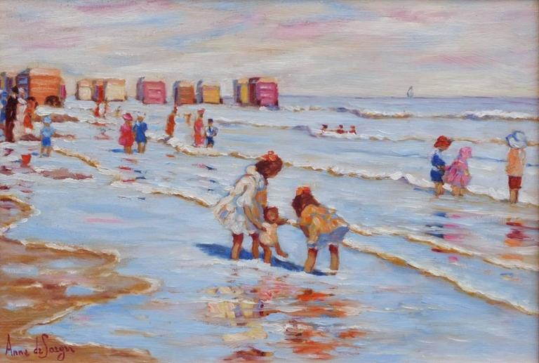 Painting 20th Century Sea Bathing 1900 French Normandy Beach and Children - Brown Landscape Painting by Anne de Saeger