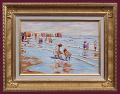 Painting 20th Century Sea Bathing 1900 French Normandy Beach and Children
