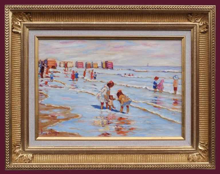 Anne de Saeger Landscape Painting - Painting 20th Century Sea Bathing 1900 French Normandy Beach and Children