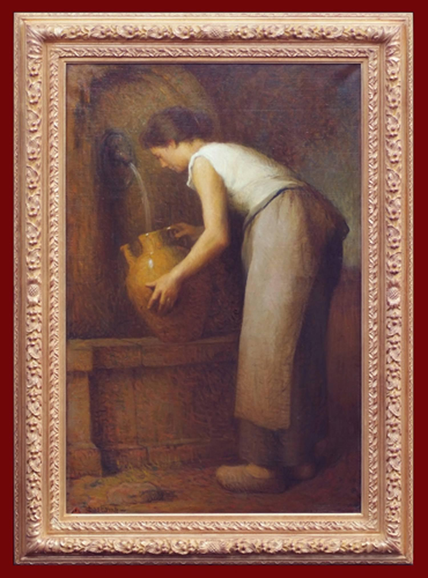 Painting 19th century old master rural daily life