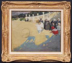 Painting postimpressionist children at Paris garden