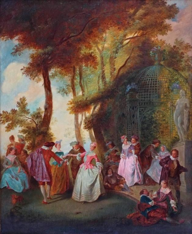 Courtiers Party in the Park in 18th Century In the Taste of Nicolas Lancret (1690-1743) Oil on canvas  Frame gilded with leaves Dim canvas : 73 X 59 cm Dim frame : 100 X 87 cm