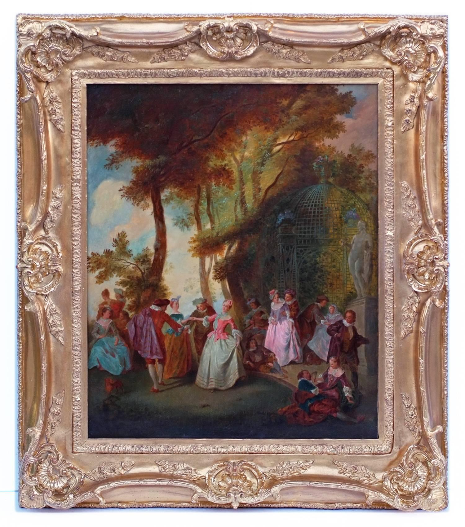 Painting 19th Century Romantic Courtiers Genre Scene