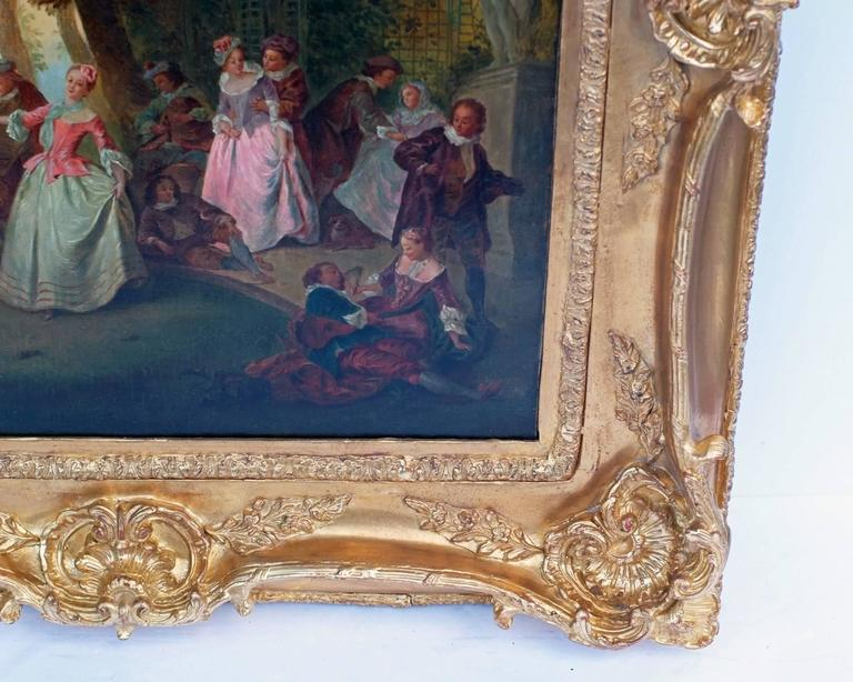 Painting 19th Century Romantic Courtiers Genre Scene   For Sale 1