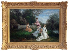 BARON Dominique (19th Century)  Painting Elegant Ladies By The River