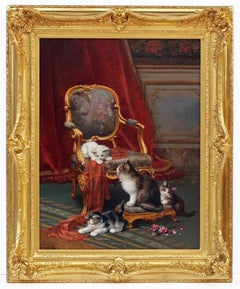 HUBER Léon Charles - Academic painting 19th century - Interior with Cats
