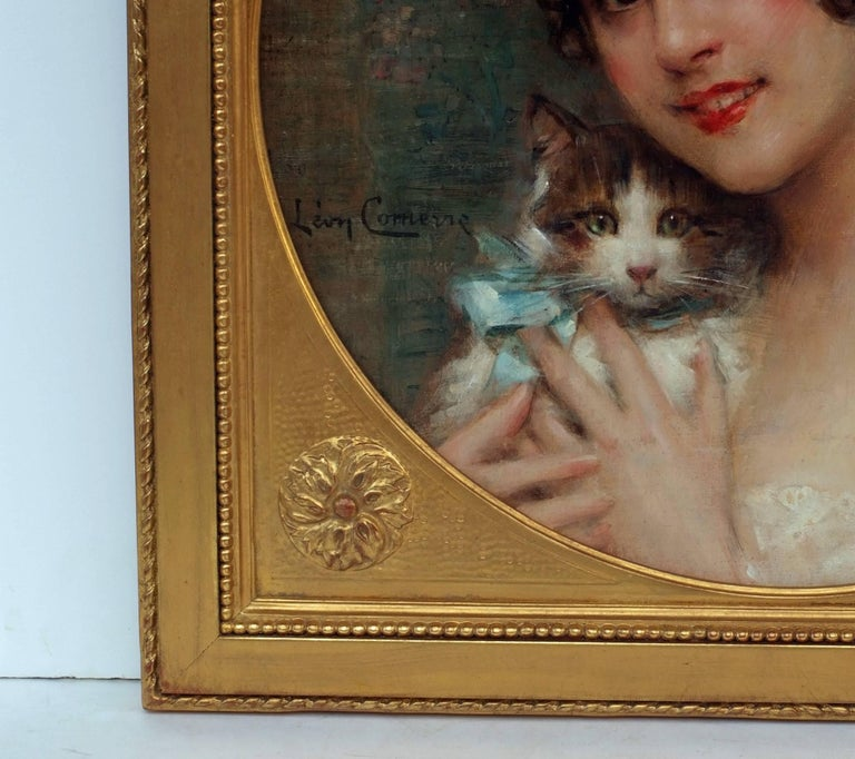 Léon COMERRE - Portrait of a Lady with Kitten - Brown Portrait Painting by Léon François Comerre