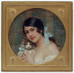 Léon COMERRE - Portrait of a Lady with Kitten