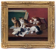 Alfred BRUNEL NEUVILLE - Painting animals interior cats