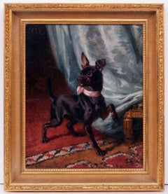 HERMMANN LEON - Painting 19th Century - Portrait of a Dog in Interior