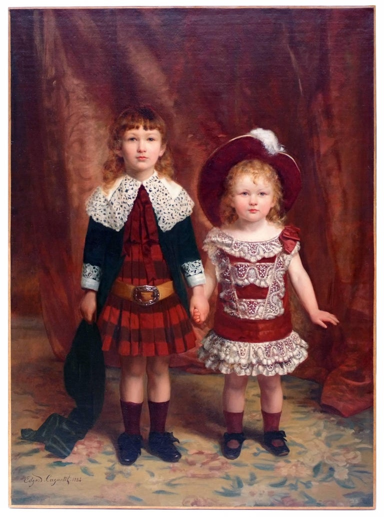 Edouard Ferdinand Ludovic Cugnotet Portrait Painting - Edgard CUGNOTET - Painting 19th Century - Portrait of Two Children