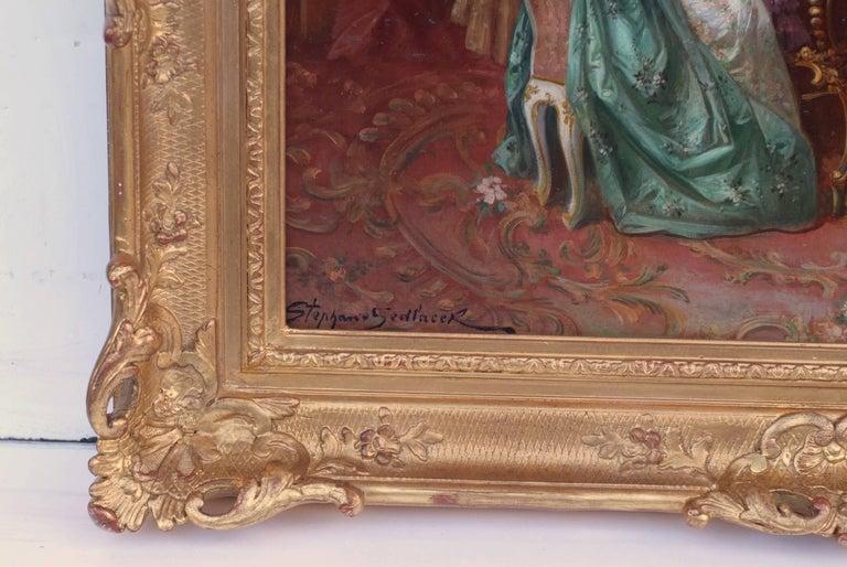 SEDLACEK Stephan Auguste - Genre painting - Piano Playing Interior 18th Century - Brown Interior Painting by Stephan Auguste Sedlacek