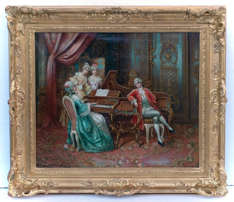 SEDLACEK Stephan Auguste - Genre painting - Piano Playing Interior 18th Century