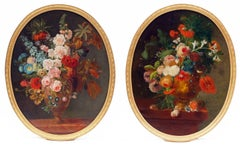 Paintings French School 19th Century - Still-Life Flowers in oval Pair