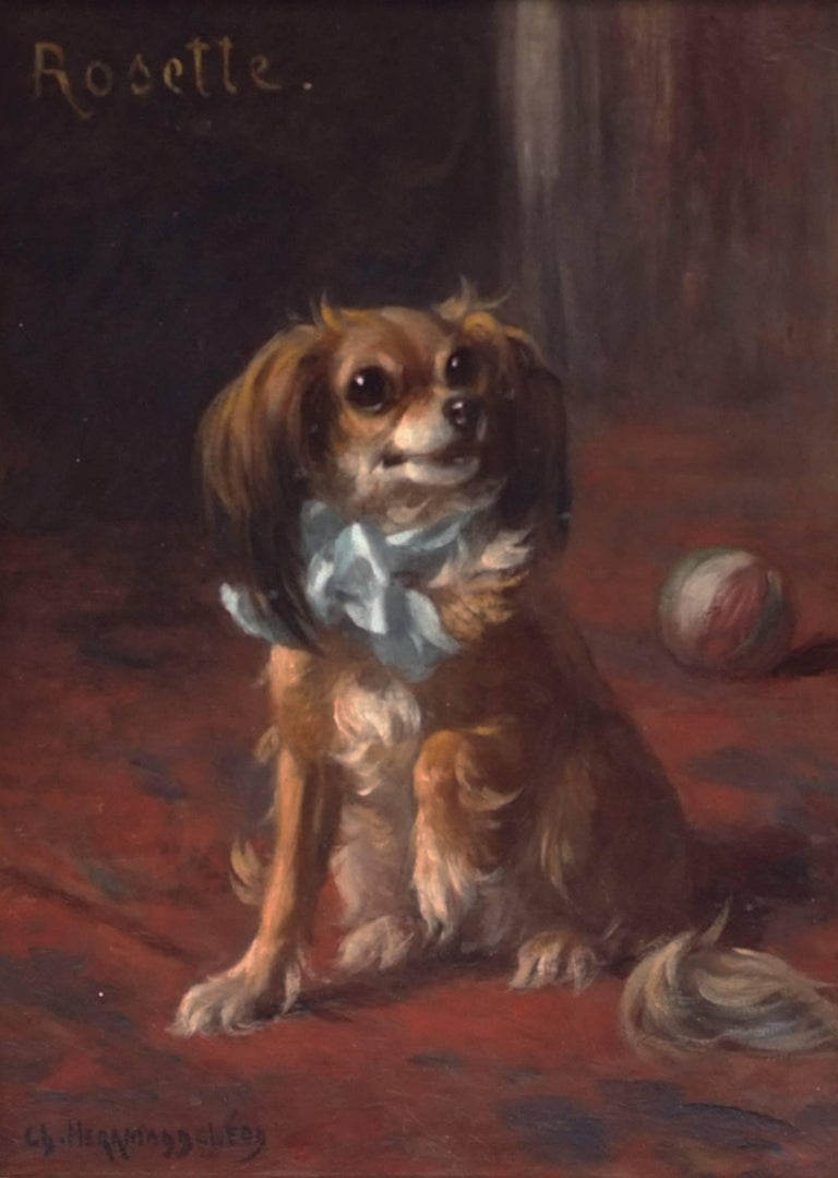Painting 19th century - Portrait of a Dog in interior For Sale 3