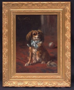 Painting 19th century - Portrait of a Dog in interior