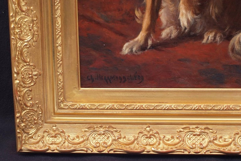 Painting 19th century - Portrait of a Dog in interior For Sale 2
