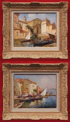 Merio AMEGLIO (1897-1970) Painting Marine French Riviera Martigues Harbour