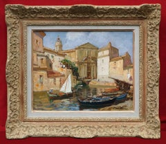 Merio AMEGLIO (1897-1970) Painting Marine French Riviera Martigues Harbour