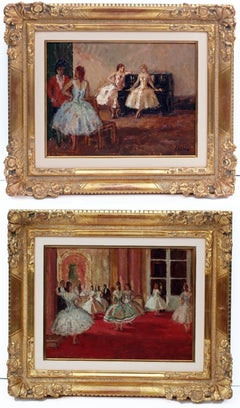 Marcel COSSON (1878-1956) Painting Post-impressionist Opera Ballerinas in pair