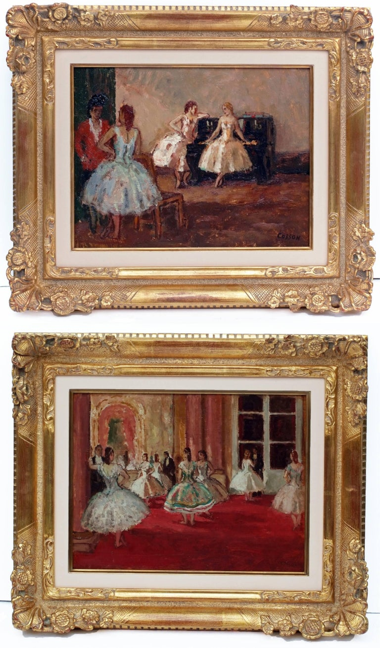 Jean-Louis-Marcel Cosson Interior Painting - Marcel COSSON (1878-1956) Painting Post-impressionist Opera Ballerinas in pair