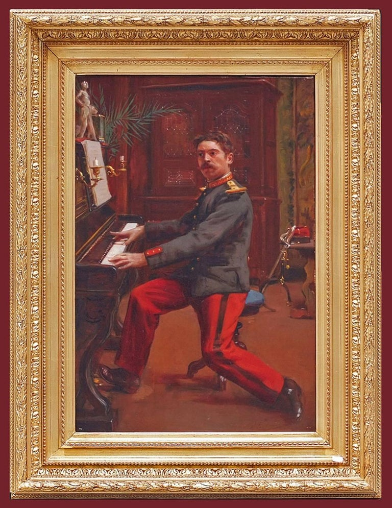 Jules TOULOT (1863-nc) Painting 19th century soldier uniform interior