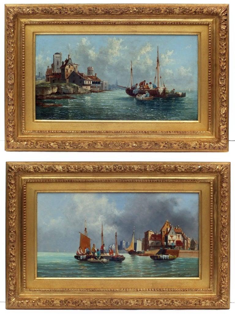 Ferdinand Bonheur Landscape Painting - Painting 19th century - Marines in pair