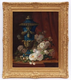 Painting 19th century by Eugène PETIT -  Flowers and Medicis Vase