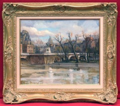 Paris Banks and Le Pont Neuf Over The Seine