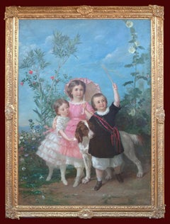 Large Painting Showing Chidren in the Garden 1860
