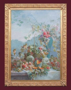 Large Painting Spring Arrangement Fruits and Flowers 1907