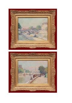 Paintings in Pair Paris views Circa 1920 signed Louis BATTIN