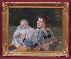 Mother and Child in the Garden, Painting 19th Century