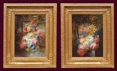 Flowers Arrangements in pair, Paintings 19th Century