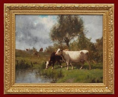 Cows on Pasture by The River , painting 19th Century, Barbizon School
