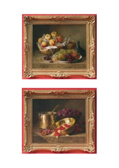 Still Life Fruits Copper Pot and Wine, Paintings 19th Century in Pair