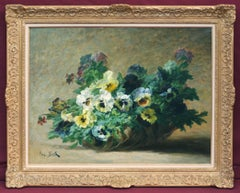 Basket of pansies Flowers - painting 19th century