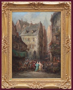 Painting of Lively Market in Rouen during 18th Century
