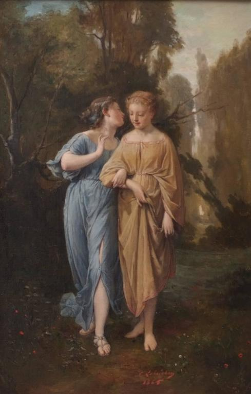 LOBRICHON Timoléon Marie (1831-1914) Women dressed in toga Oil on canvas signed low right and dated 1865 Old frame gilded with gold leaves Dim canvas : 72 X 45 cm (28,34 x 17,71 inches) Dim FRAME : 101 X 76 cm (39,76 x 29,92 inches) Certificate of