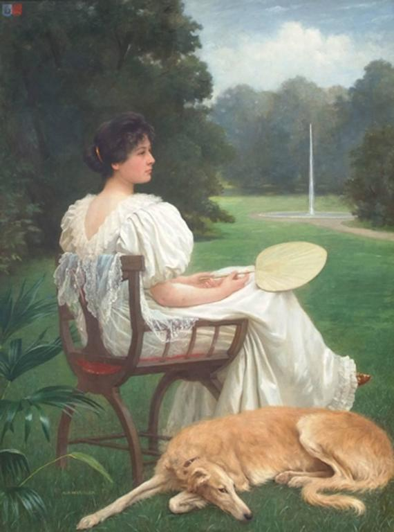 Painting 19th Century Portrait Woman and Dog in the Garden - Brown Portrait Painting by HOFLINGER Albert