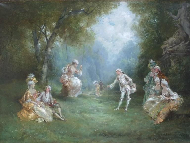 LEVIGNE Théodore (1848-1912) Genre scene in 18th century : The Swing In The Park Oil on canvas signed low right Old original frame gilded with leaves Dim canvas : 72 X 100 cm  (28,34 X 39,37 inches) Dim frame : 103 X 127 cm  (40,55 X 50