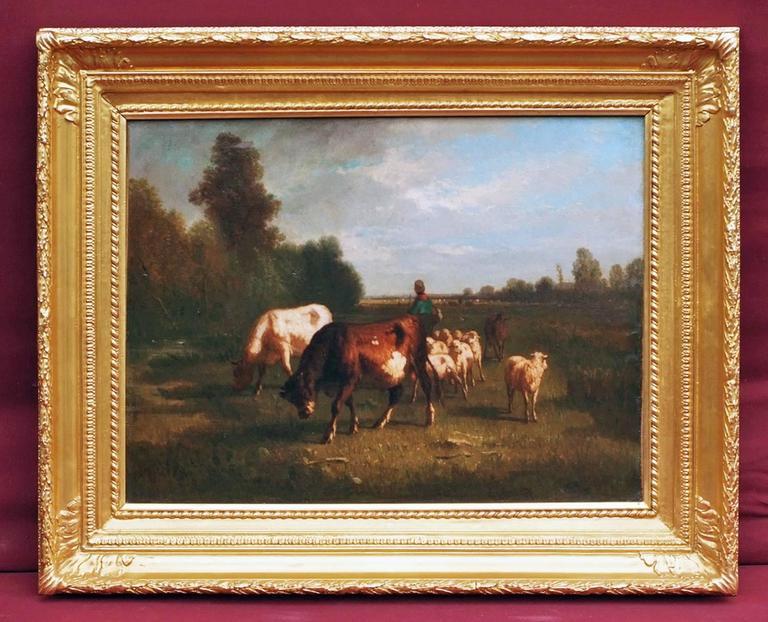 Antonio Cortes Animal Painting - Oil Painting 19th Century Cows Landscape Barbizon