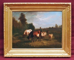 Oil Painting 19th Century Cows Landscape Barbizon