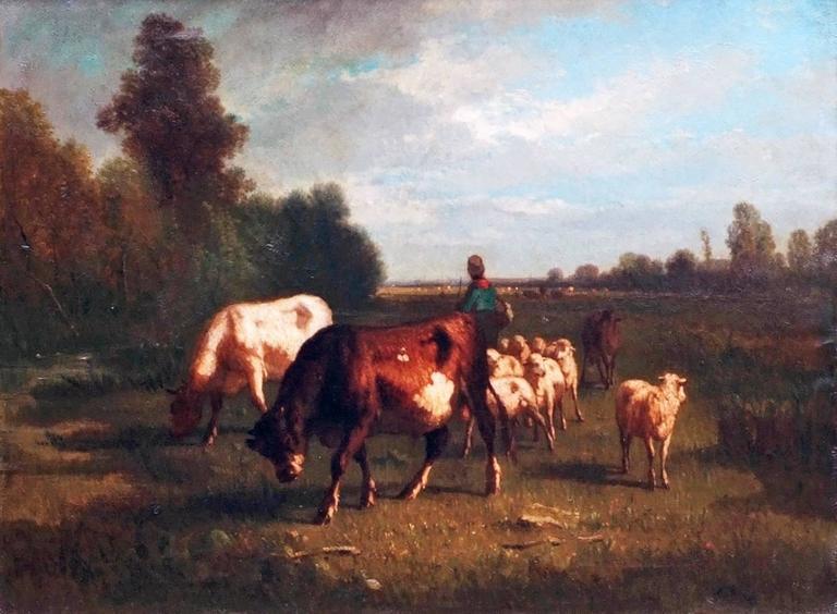 Oil Painting 19th Century Cows Landscape Barbizon  For Sale 1