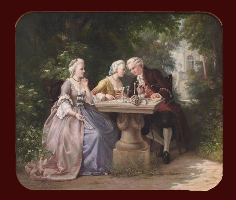 Painting 19th Century Genre Scene Portraits Cards Game Aristocracy 18th Century - Brown Figurative Painting by KRATZ Benjamin (1829-1869)