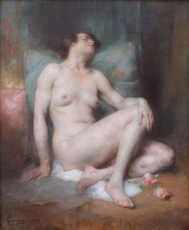 Tanoux adrien, henri (1865-1923) Nude asleep Oil on canvas signed low left and dated 1922 Frame gilded with gold leaves Dim canvas :66 X 56 cm Dim frame : 95 X 85 cm Certificate of authenticity  TANOUX Adrien, Henri (1865-1923) French School