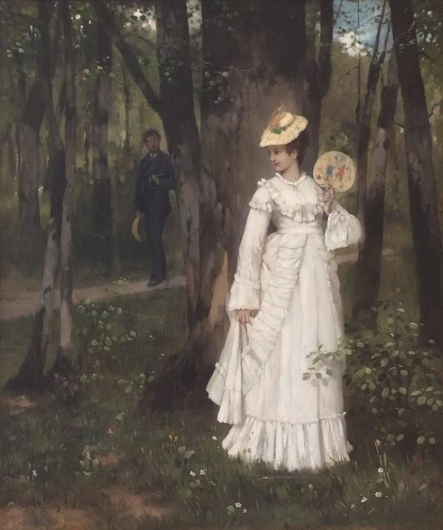 Niczky Edouard (1850 – 1919) Love date in 19th century Oil on canvas signed low left Old original frame gilded with leaves Dim canvas : 61 X 52 cm Dim frame : 76 X 66 cm Certificate of authenticity  Niczky Eduard (1850 – 1919)  German painter 19th