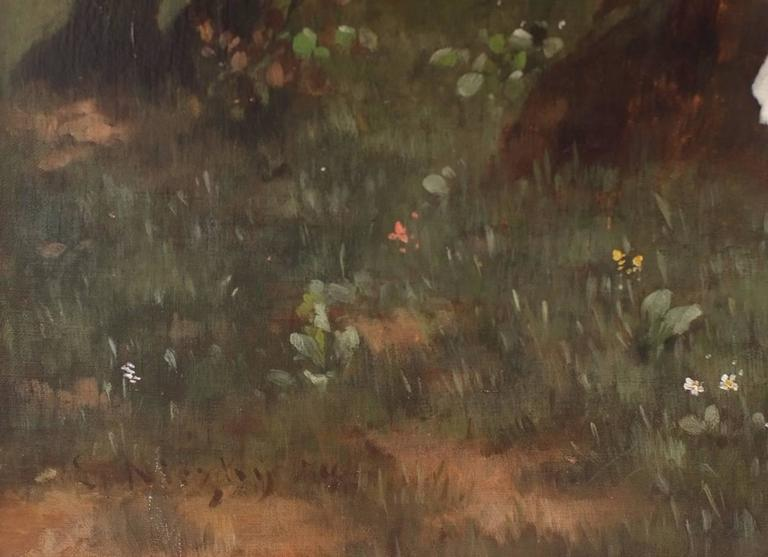 Painting 19th century Genre Scene Landscape With Characters For Sale 1