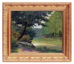 Painting 19th Century Landscape French Countryside Postimpressionist